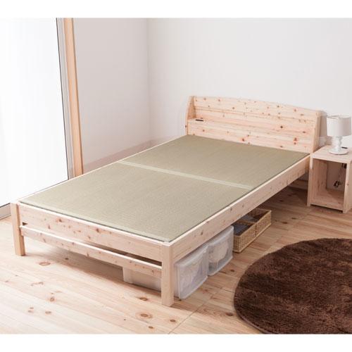 送料無料 畳ベッド セミダブル 日本製 ヒノキ コンセント付き 高さ調整 木製ベッド 無塗装 天然木 畳 ベッド 檜 寝室 和 棚付き 国産 い草 TCB243-SD