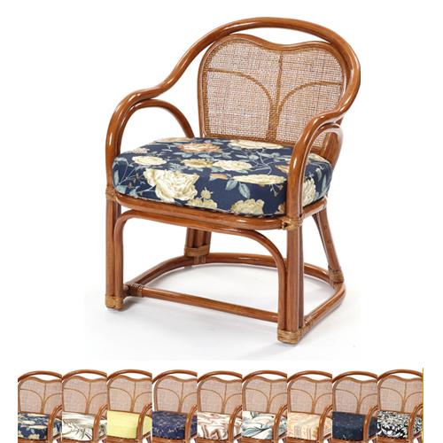 ラタンチェア 送料無料 アーム付きラタンチェア 籐椅子 ラタン家具 選べるクッション 南国風 軽量 リビング 座椅子 らくらく ダイニング C733HR-S