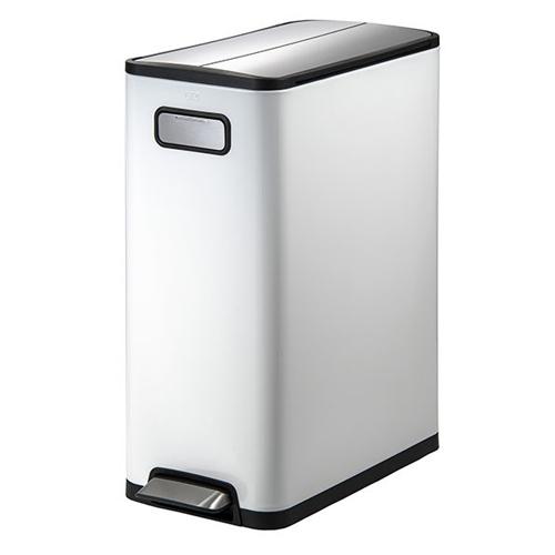 ゴミ箱 20L+20L ホワイト 両開き ペダル式 持ち手 キャスター付き 分別 清潔感 ダストボックス キッチン カウンター 1年保証 送料無料 EK9377MP-20L-20L-WH