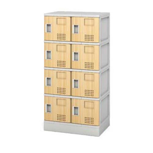 シューズロッカー 8人用 樹脂製 木目 扉 中棚付き 多目的ロッカー シューズボックス 下駄箱 ドア付き ロッカー 靴箱 学校 オフィス 2列4段 送料無料 TJL-S-24MT