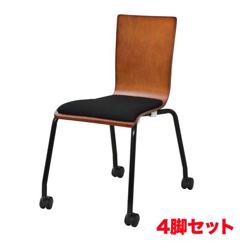 会議いす 事務椅子 オフィスチェア 店舗 食堂 待合椅子 会社 【法人限定】スタッキングチェア 4脚セット キャスター付き 会議椅子 ミーティングチェア 会議室 ダイニングチェア プライウッドチェア RFC-FPCAGN-4SET