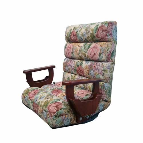 座椅子 回転式 肘付き 肘付回転レバー座椅子 一人掛けチェア フロアチェア 回転いす 肘付き椅子 チェア リビング 居間 和室 F-1215