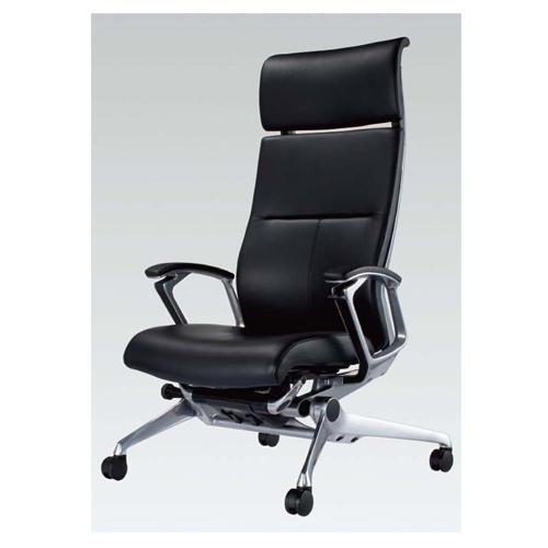 ラクソス ミーティングチェア オカムラ 送料無料 ビジネスチェア ヘッドレスト オフィスシーティング ブラックレザー リクライニング 低座 CZ67CX-P676