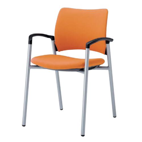 スタッキングチェア 肘付き 送料無料 布製 ファブリック ミーティングチェア デスクチェア パソコンチェア オフィスチェア 椅子 イス オフィス家具 8147ZA-F