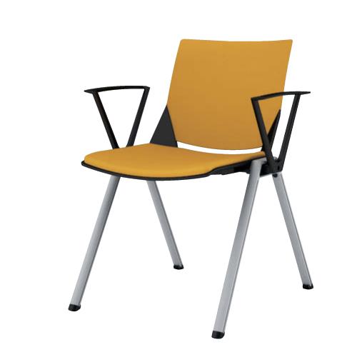 スタッキングチェア 肘付き 送料無料 シンプル オフィスチェア デスクチェア ミーティングチェア パソコンチェア 椅子 イス 布製 ファブリック 81J1AA-FFW