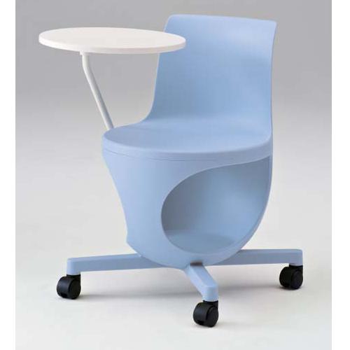 イーチェア ミーティングチェア オカムラ 送料無料 テーブル付き アイスブルー キャスター付き オフィスチェア ラウンジチェア オフィス家具 9314ED-GD18