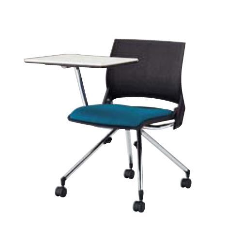 スタッキングチェア キャスター付き 送料無料 カラフル チェア オフィスチェア ミーティングチェア テーブル付き メモ台付き タブレット付き 9317UB-F