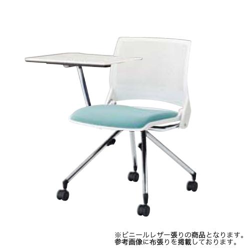 スタッキングチェア キャスター付き 送料無料 テーブル付き メモ台付き タブレット付き ミーティングチェア オフィスチェア テーブルチェア 9317XB-PB