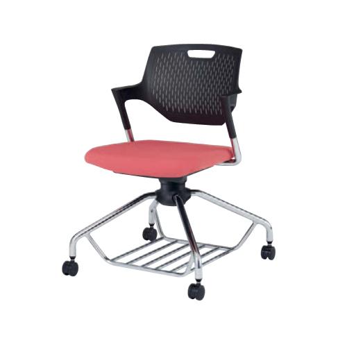 ミーティングチェア 肘付き キャスター付き 送料無料 回転椅子 収納付き 棚付き オフィスチェア シンプル パソコンチェア デスクチェア オフィス家具 9319EE-F