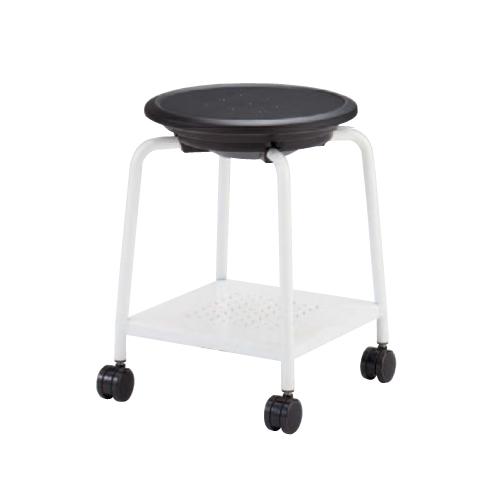 スツール キャスター付き 送料無料 ホワイト脚 パッドなし 荷物置き付き オフィス家具 オフィスチェア 丸椅子 病院 美容院 塾 イス 93J1KZ-G721