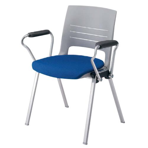 スタッキングチェア 肘付き 送料無料 布張り イス 椅子 デスクチェア パソコンチェア テーブルチェア オフィスチェア ミーティングチェア 会社 HD11BA-FB