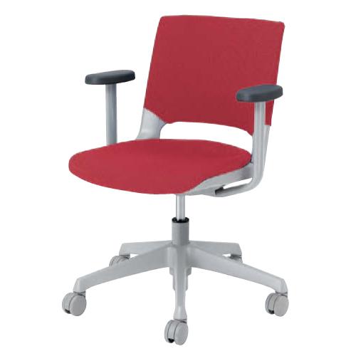 ミーティングチェア 肘付き キャスター付き 送料無料 ファブリック 昇降式 チェア デスクチェア パソコンチェア オフィスチェア 椅子 イス 布製 HD14AA-FB