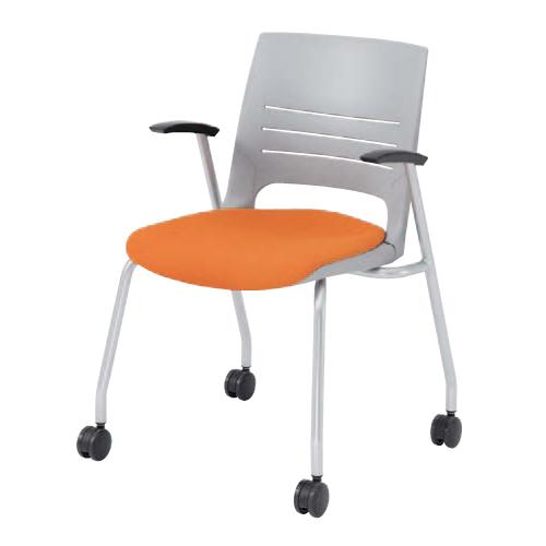 ミーティングチェア 肘付き キャスター付き 送料無料 パソコンチェア オフィスチェア 椅子 イス 会社 布製 ファブリック チェア デスクチェア HD21CA-FB