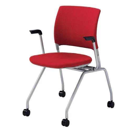 スタッキングチェア 肘付き キャスター付き 送料無料 布製 ファブリック ミーティングチェア デスクチェア パソコンチェア オフィスチェア 椅子 HD25BY-FFW