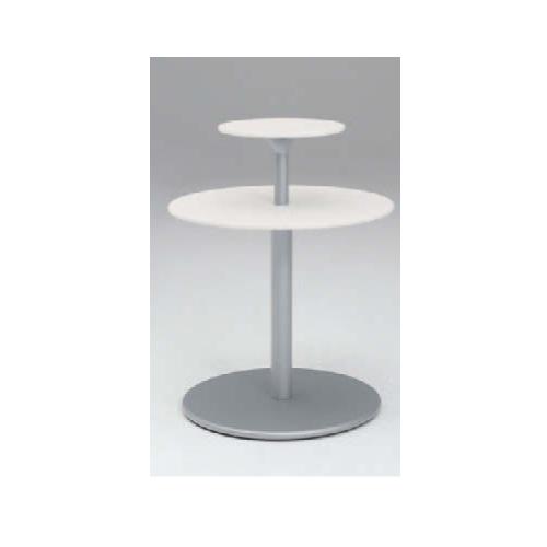 ラウンジテーブル 送料無料 丸型テーブル 2段ユニット ホワイト天板 おしゃれ モダンテーブル オフィステーブル オフィス家具 机 L401RE-WB01