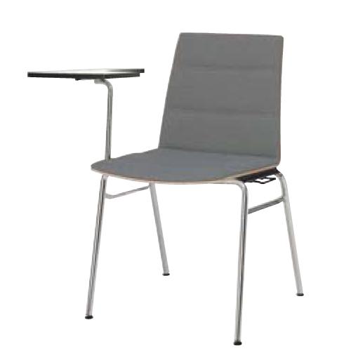 スタッキングチェア 送料無料 テーブル付き ウォールナットシェル 背・座パット 布張り オフィスチェア メモ台付きチェア オフィスチェア L639FT-FB