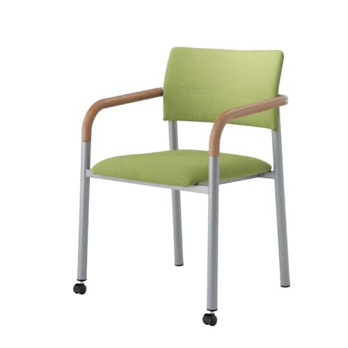 スタッキングチェア 肘付き キャスター付き 送料無料 ミーティングチェア 肘付きチェア オフィスチェア オフィス家具 チェア 椅子 会議室 L642BE-FFW