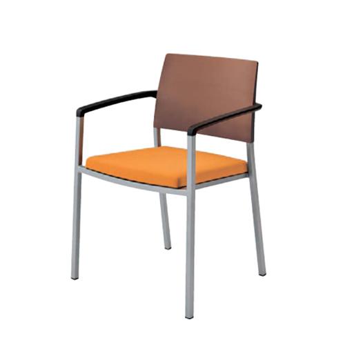 スタッキングチェア 肘付き 送料無料 背パットなし ネオウッドダーク ミーティングチェア オフィス家具 チェア 椅子 会議室 打ち合わせスペース L675YZ-FFW