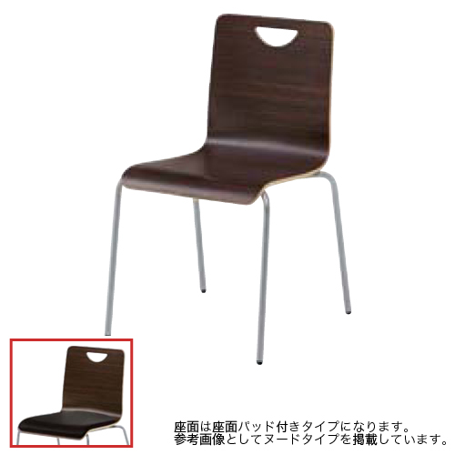 スタッキングチェア 送料無料 4本脚タイプ ダークブラウン ビニールレザー張り座面パッド付き ミーティングチェア オフィスチェア チェア 椅子 事務所 LW19BD-P