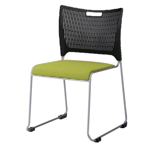 スタッキングチェア 送料無料 ブラックシェル 布張りチェア メッキ脚 オフィスチェア オフィス家具 打ち合わせスペース 事務所 チェア 椅子 81R2CZ-FFW