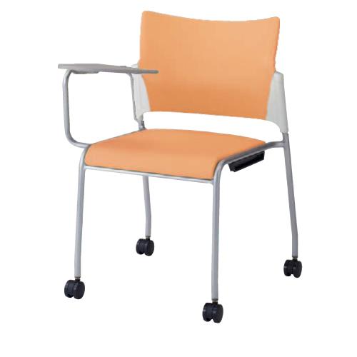 スタッキングチェア キャスター付き 送料無料 ホワイトシェル ビニールレザー張り 背カバー付き メモ台付きチェア オフィスチェア 椅子 81R2JY-PB