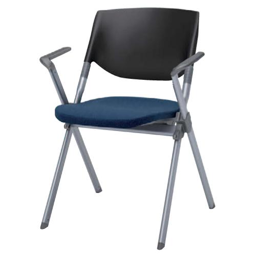 スタッキングチェア 肘付き 送料無料 布張り カラフル オフィスチェア 椅子 イス ミーティングチェア 会議 会社 オフィスチェア パソコンチェア H141BZ-FFW