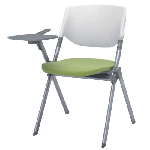 スタッキングチェア 送料無料 テーブル付き タブレット付き オフィスチェア デスクチェア ミーティングチェア パソコンチェア 椅子 イス 布張り H141TB-FFW