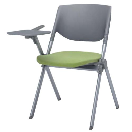 スタッキングチェア 送料無料 ミーティングチェア パソコンチェア 布張り テーブル付き タブレット付き イス 椅子 オフィスチェア デスクチェア H141TR-FFW