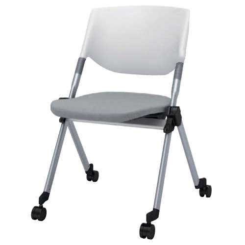 スタッキングチェア キャスター付き 送料無料 布張り シンプル オフィスチェア デスクチェア ミーティングチェア パソコンチェア 椅子 イス H141ZA-FFW