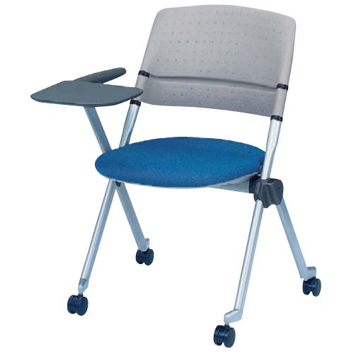 スタッキングチェア キャスター付き 送料無料 メモ台付き タブレット付き テーブル付き オフィスチェア 会議 ミーティングチェア カラフル シンプル H161SS-FX