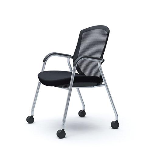 コンテッサ セコンダ オカムラ 肘付き ゲストチェア 4本脚キャスター付き オフィスチェア ミーティングチェア 会議椅子 おしゃれ 高級 会議用チェア イス CC73BR