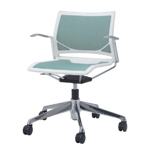 ミーティングチェア 肘付き キャスター付き 送料無料 回転椅子 オフィスチェア シンプル デスクチェア パソコンチェア イス 布製 ファブリック 椅子 81R1FA-F