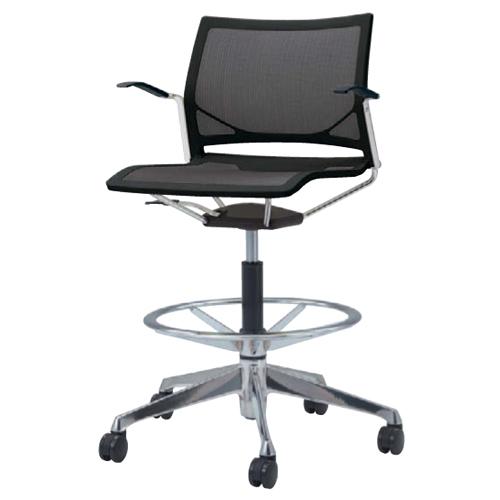 ミーティングチェア 肘付き キャスター付き 送料無料 回転 昇降式 布製 ファブリック ハイチェア オフィスチェア 椅子 イス カラフル シンプル 81R1GL-F
