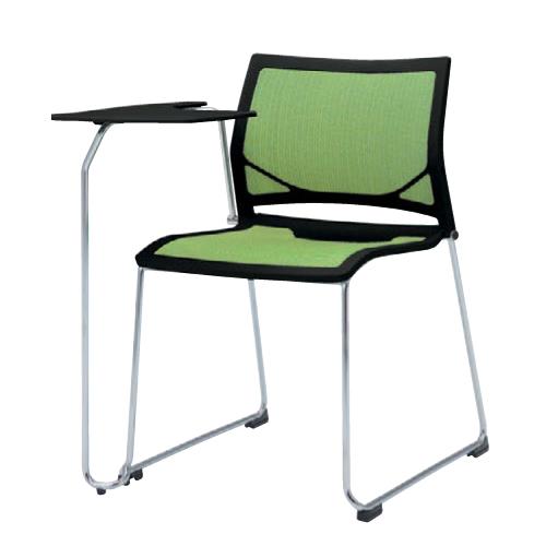 スタッキングチェア 送料無料 布製 メモ台付き タブレット付き テーブル付き オフィスチェア ミーティングチェア 椅子 イス シンプル デスクチェア 81R1TR-F