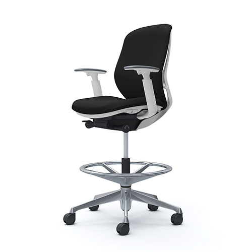 シルフィー オカムラ 可動肘 ハイチェア ローバック クッションタイプ ホワイトボディ ポリッシュ脚 オフィスチェア デスクチェア 昇降デスク用椅子 岡村 C683HW