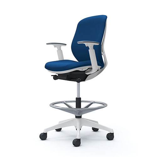 シルフィー オカムラ 可動肘 ハイチェア ローバック クッションタイプ ホワイトボディ ホワイト脚 オフィスチェア デスクチェア 昇降デスク用椅子 岡村 C683JW