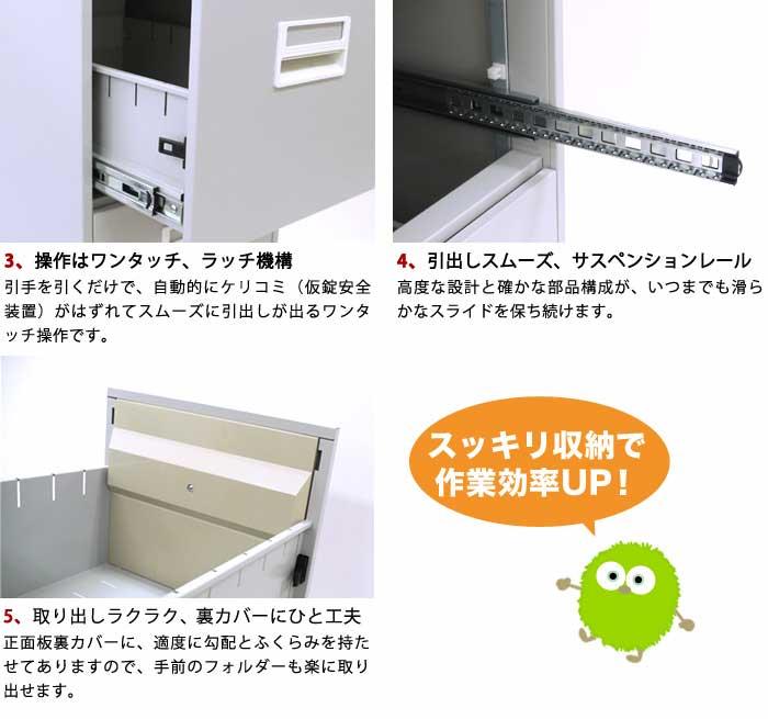 【 法人  】 ファイリング キャビネット 4段 A4ファイル 書庫 書類 収納 ファイルキャビネット 書類棚 A4-4W ホワイト 書類ケース ラテラル L-A4-4W