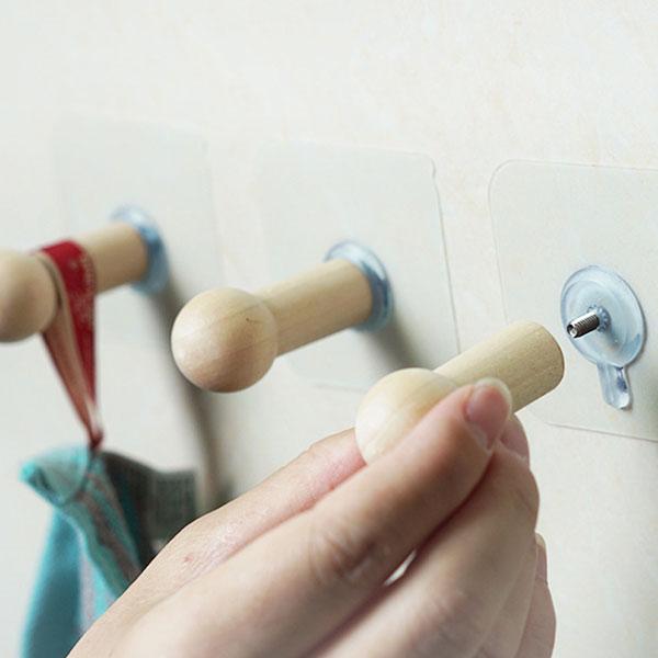 木製 貼るだけ 簡単装着 フック 壁 穴開けない 粘着 引っ掛け おしゃれ 木 賃貸 フック 壁 便利 収納 穴開けない 帽子掛け ハンガー フック 2個セット 送料無料