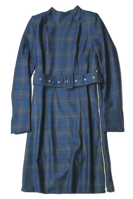 TOGA PULLA 210334ZXC SALE NEW トーガ プルラ 18AW 日本製 Wool Check Dress トップス 本日限定 中古 TP82-FH214 長袖 36 ネイビー ワンピース ウールチェックドレス
