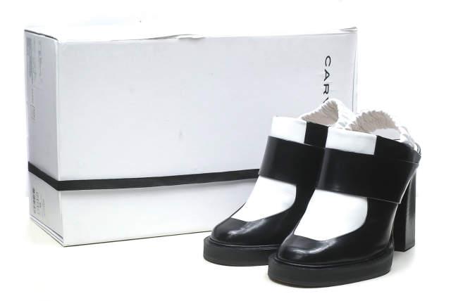 CARVEN カルヴェン Round Toe Leather Mules 2トーンレザーミュール 966SC137 36(23cm) ブラック/ホワイト ヒール エナメル シューズ【中古】【CARVEN】