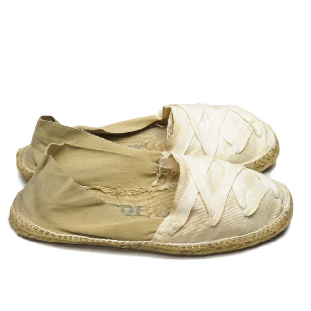 By color espadrille 42 (27cm) white beige jute sole shoes made in Jose Levy Jose Levy France