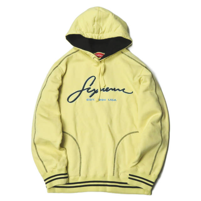Supreme シュプリーム 19SS Contrast Embroidered Hooded Sweatshirt コントラストロゴ刺繍 スウェットプルオーバーパーカー M Pale Yellow 長袖 ステッチ イエロー トップス【中古】【Supreme】