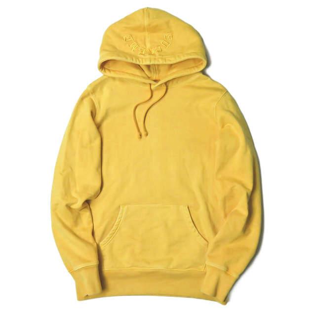 Supreme シュプリーム 17SS Overdyed Hooded Sweatshirt オーバーダイ スウェットプルオーバーパーカー S イエロー フーディー フードロゴ刺繍 トップス【中古】【Supreme】