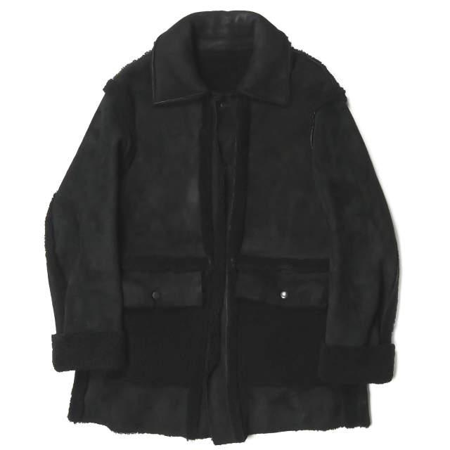 UNUSED アンユーズド 日本製 14AW Mouton Coat ムートンコート US1302 3 ブラック ボア ステンカラー シープレザー アウター【中古】【UNUSED】