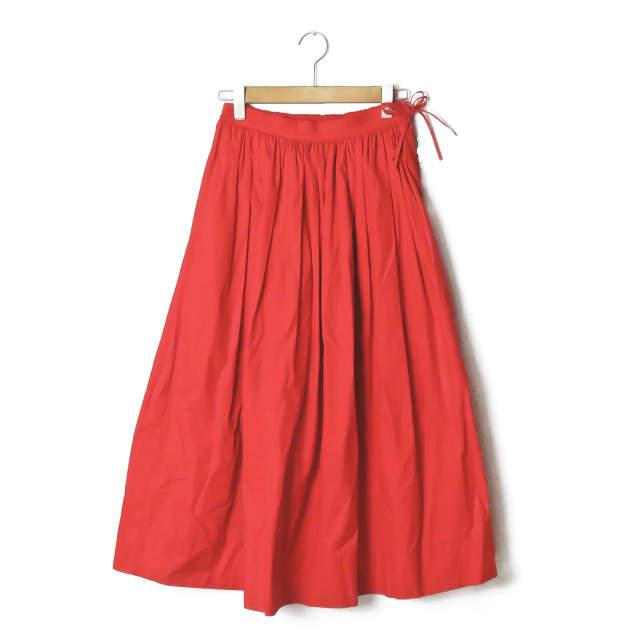Drawer ドゥロワー 19SS 日本製 ウェストコードギャザースカート 6524-299-1312 36 レッド ロング ボトムス【中古】【Drawer】