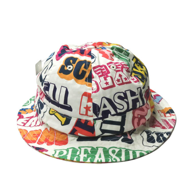 Supreme x HYSTERIC GLAMOUR シュプリーム ヒステリックグラマー 17AW 別注 アメリカ製 Text Bell Hat テキストベルハット M/L ホワイト 総柄 プリント 帽子【新古品】【中古】【Supreme × HYSTERIC GLAMOUR】