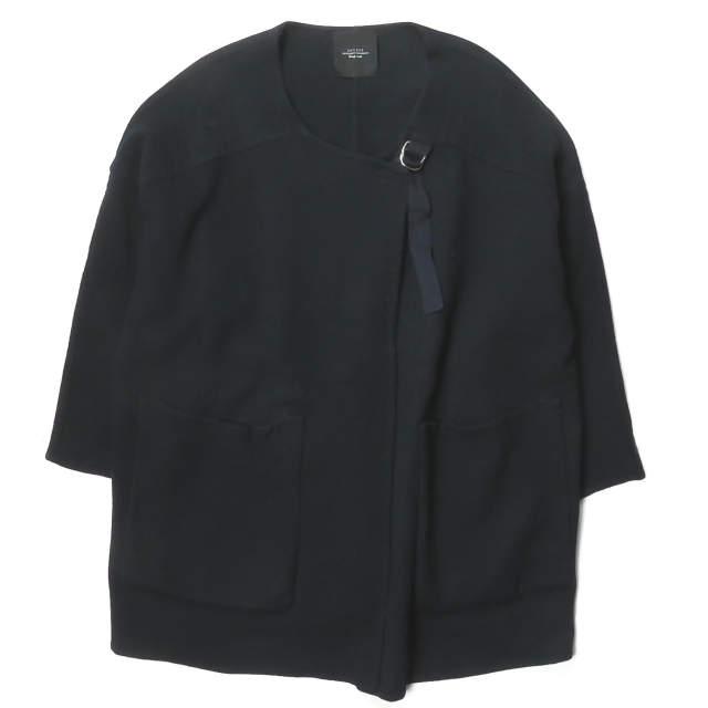 UNUSED アンユーズド 16AW 日本製 Collarless Coat BIGシルエット ウールノーカラーストラップコート US1213 4 ネイビー アウター【中古】【UNUSED】