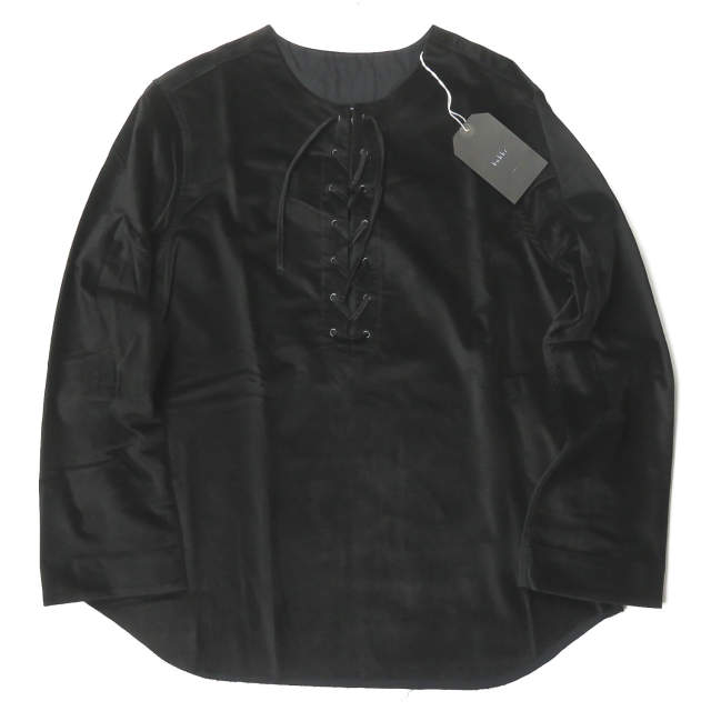 bukht ブフト 日本製 LACE UP SHIRT - Velor ベロア レースアップシャツ B-MB85202 1(S) ブラック 長袖 ノーカラー トップス【新古品】【中古】【bukht】