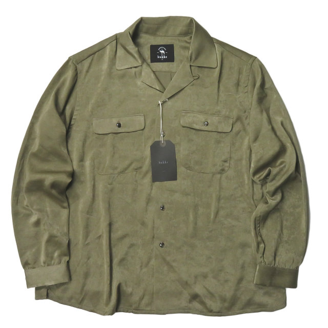 bukht ブフト 日本製 OPEN COLLAR SHIRT オープンカラーシャツ BB-952201 1(S) カーキ 長袖 開襟 サテン トップス【新古品】【中古】【bukht】