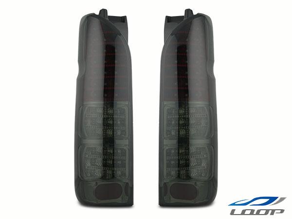 ハイエース 200系 パーツ ブラック カスタム レジアスエース LEDテールランプ ハーフレッド スモークレンズタイプ H16~